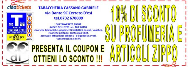 Coupon TABACCHERIA CASSANO